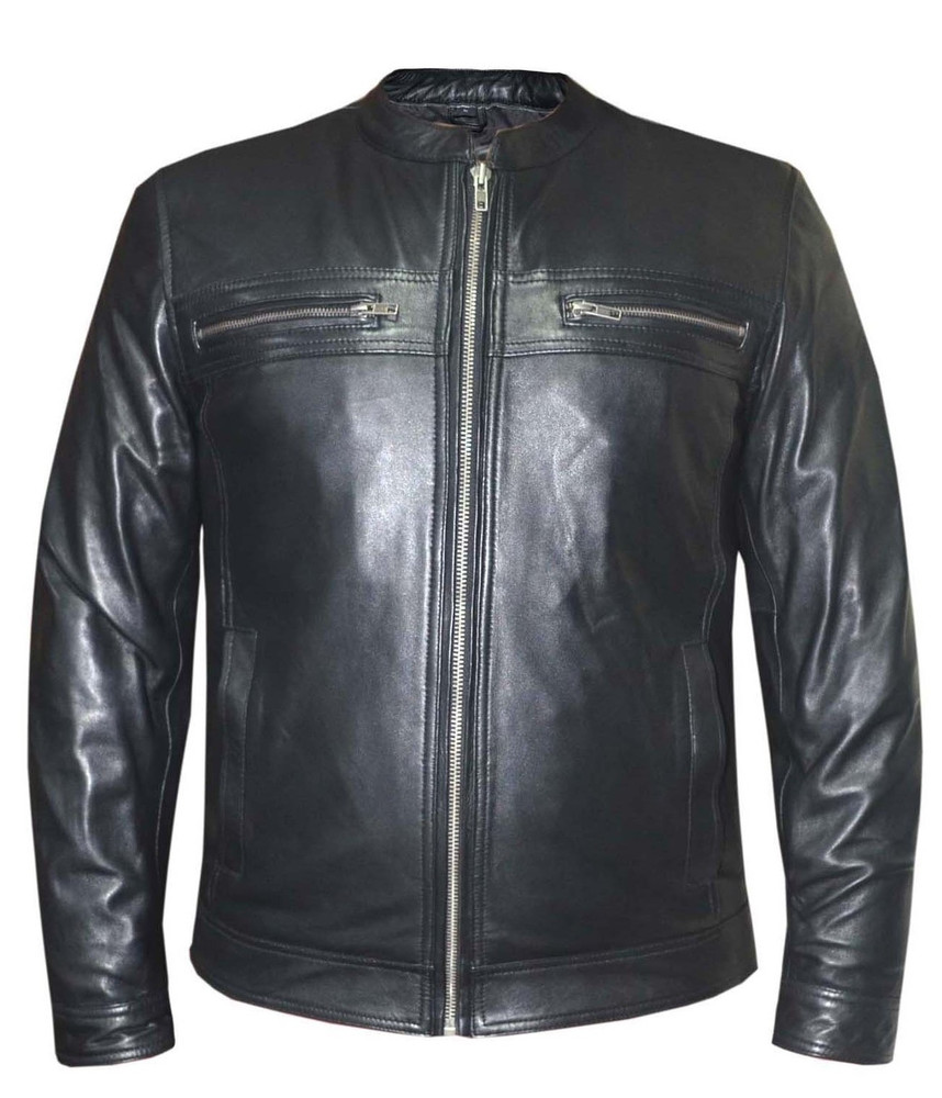 Leather classic with chest pockets low collar