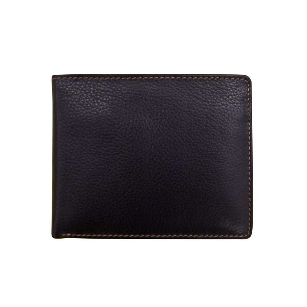 Leather bi-fold men's wallet Black/Toffee