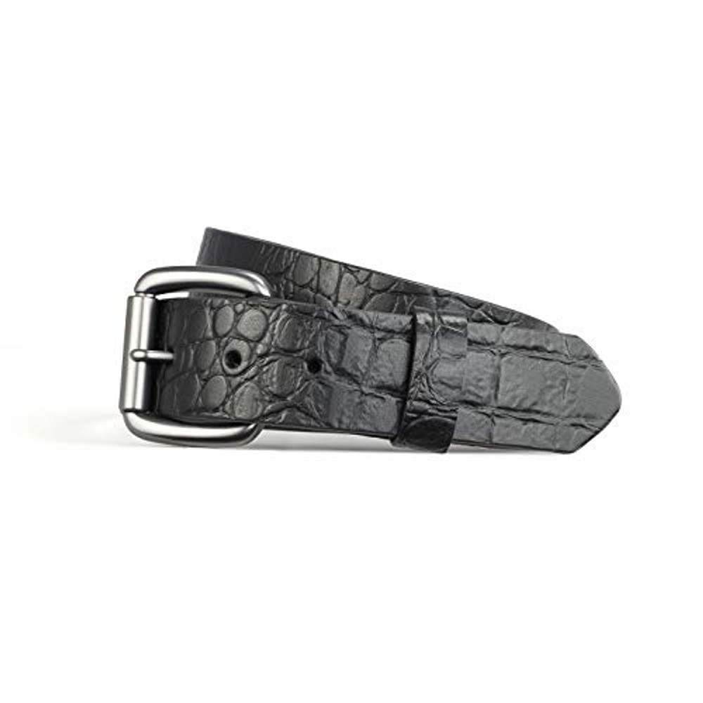Crocodile leather print belt black 1.5""