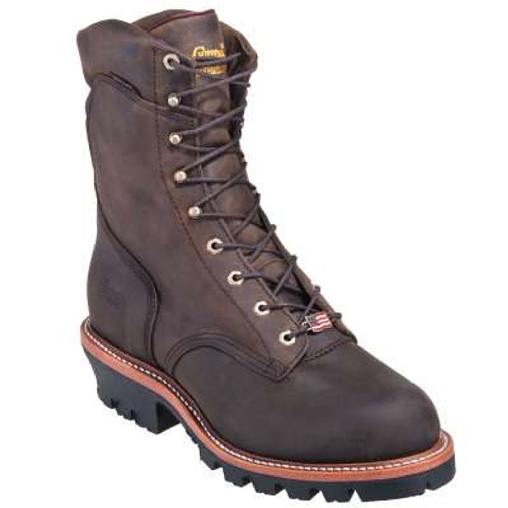 "Chippewa Non-Insulated  Waterproof Super Logger 9"" Work Boots -  Steel Toe Brown"