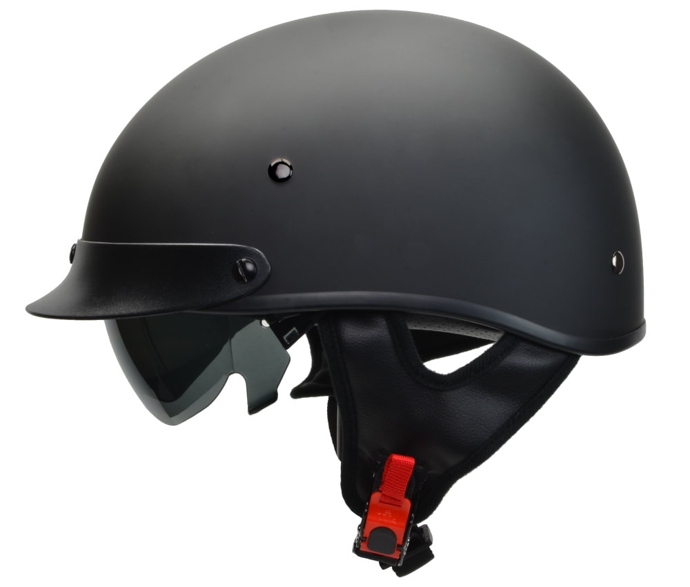 Vega Matte Black Half Helmet  With Shade