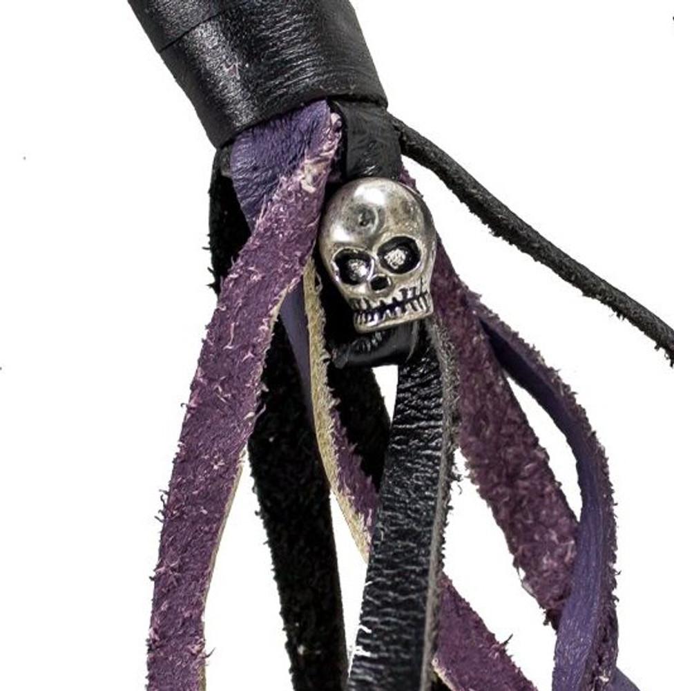 Purple & Black  Leather Biker Motorcycle Get Back Whips