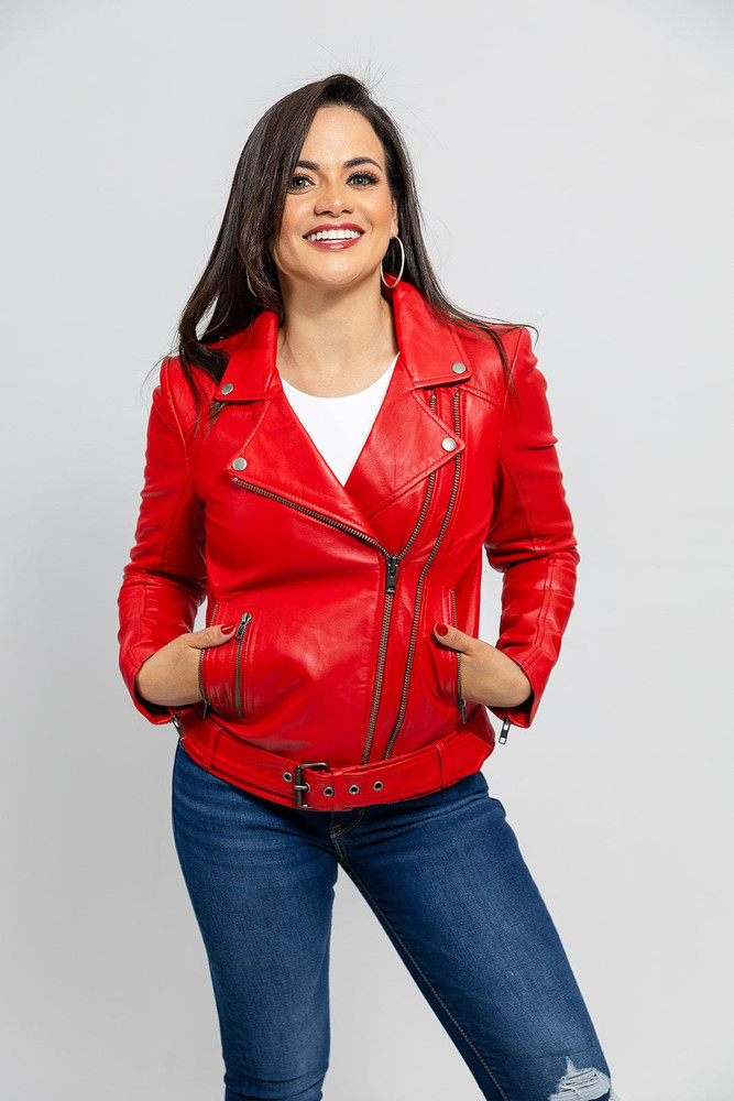 Woman's Red Biker Leather Jacket