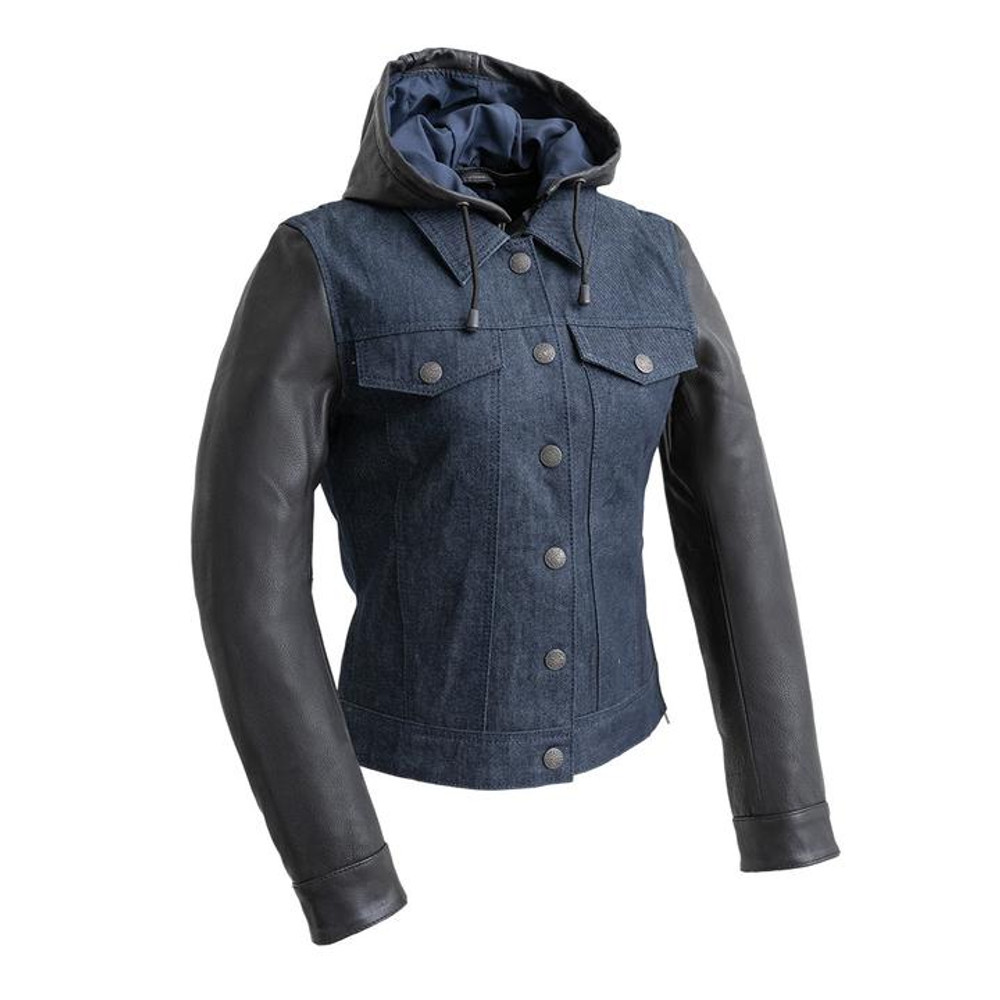 combination of leather and denim