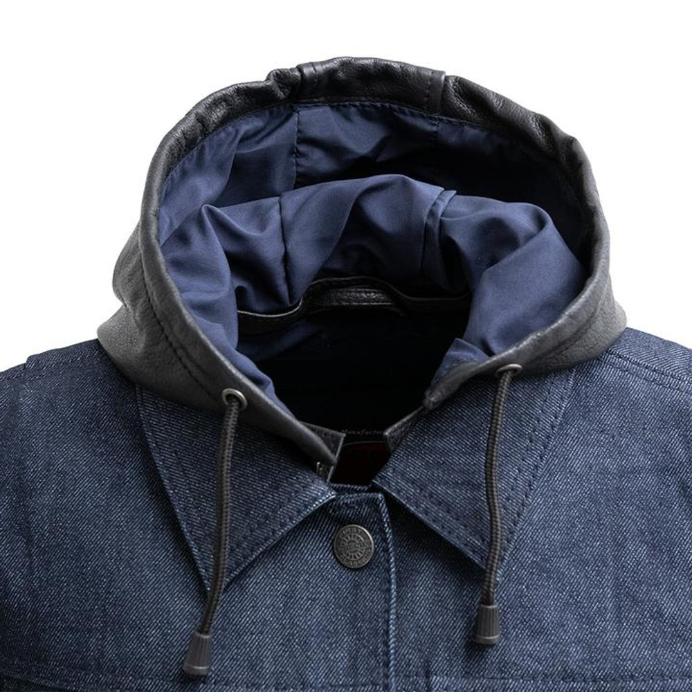 Holli, Motorcycle Denim/leather jacket with leather hood