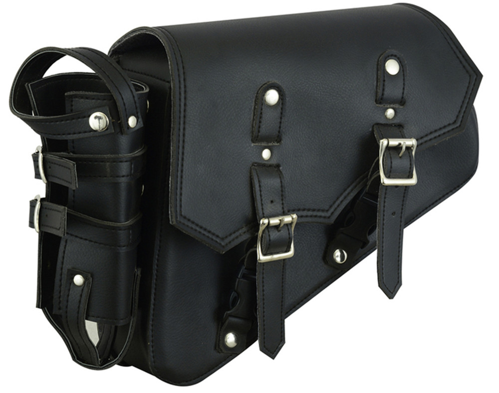 Left Side Synthetic leather Swing Arm Bag With Bottle Holder