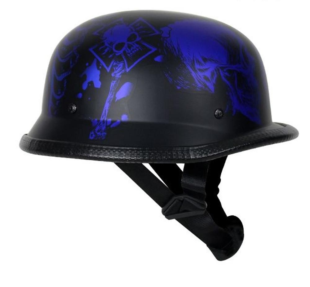 Matte Blue Novelty Helmet with Horned Skeletons