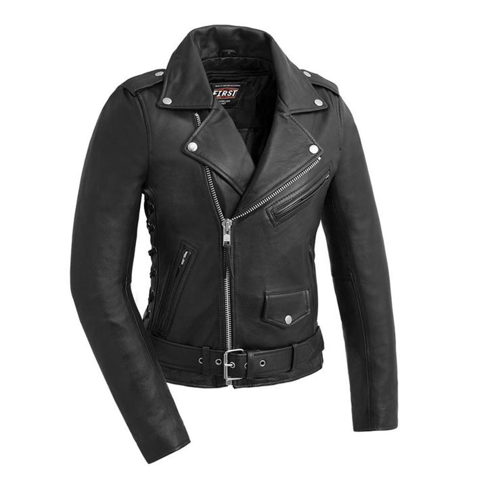Popstar - Women's Biker Leather Jacket W/Sidelaces