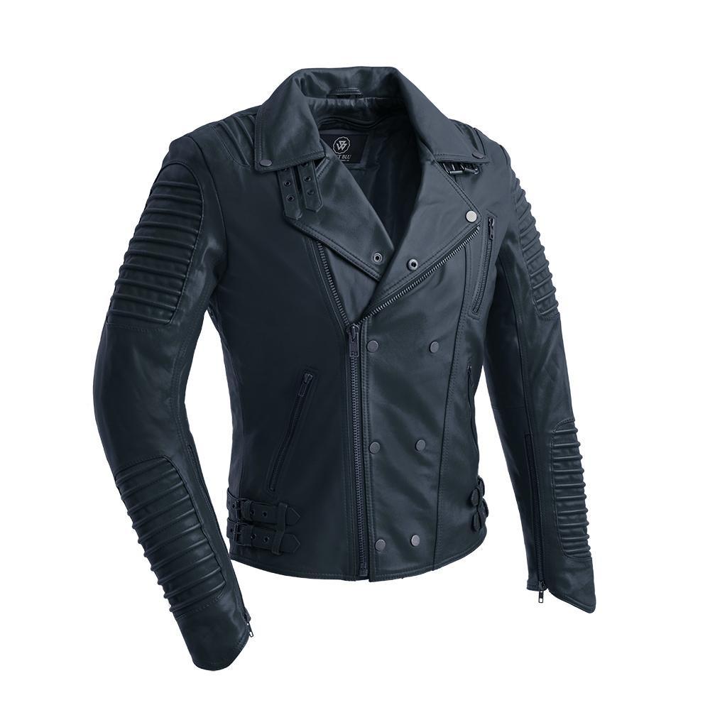 Brooklyn Moto Inspired Lather Jacket navy