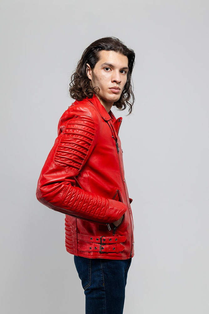 Brooklyn Moto Inspired Lather Jacket Fire red
