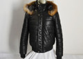 Slim Fit Leather Bomber Jacket  with removable Fur  hood