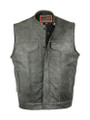 Gray Collarless Premium  Leather
