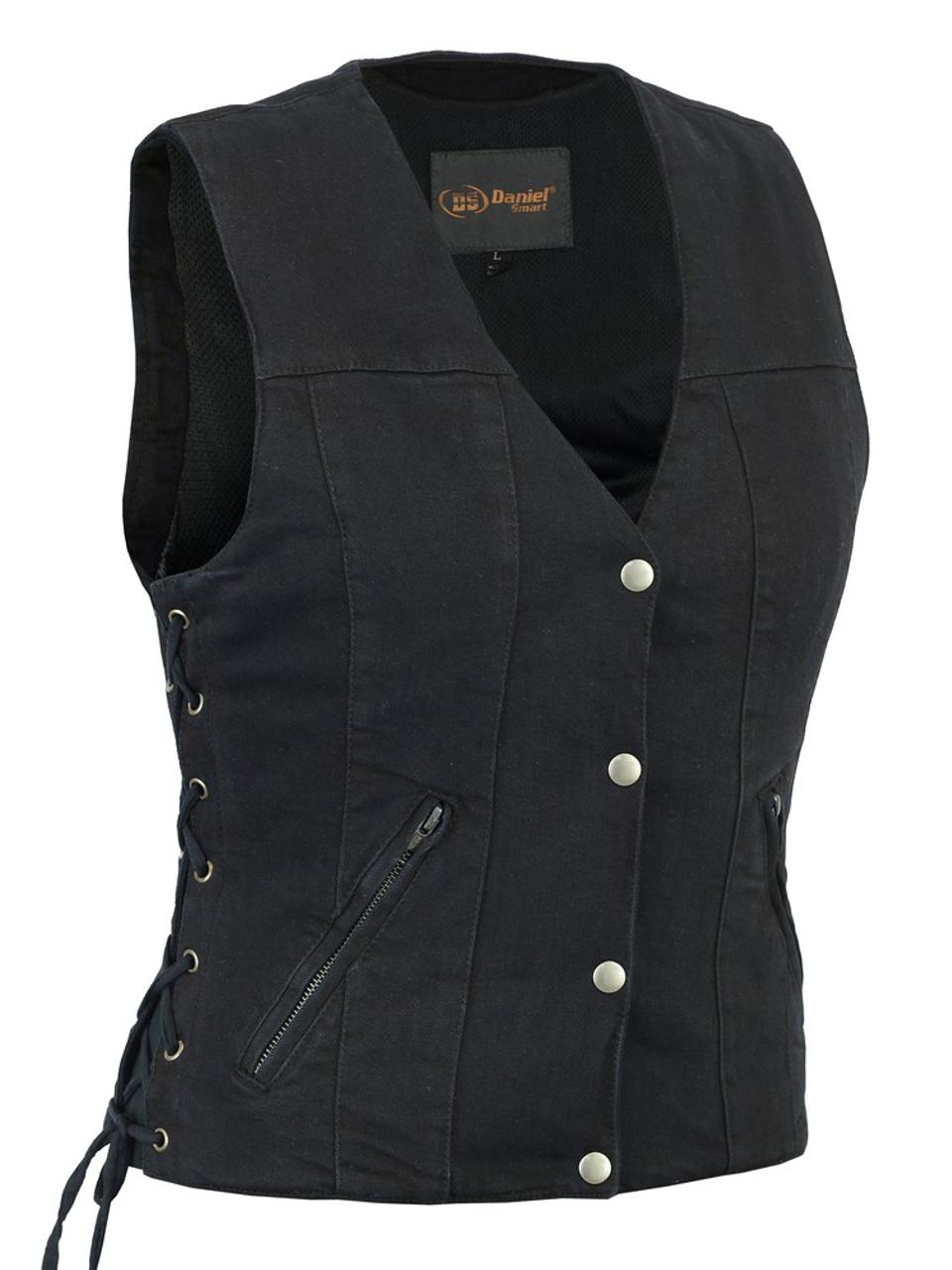 Women's  Denim Vest With Side Laces