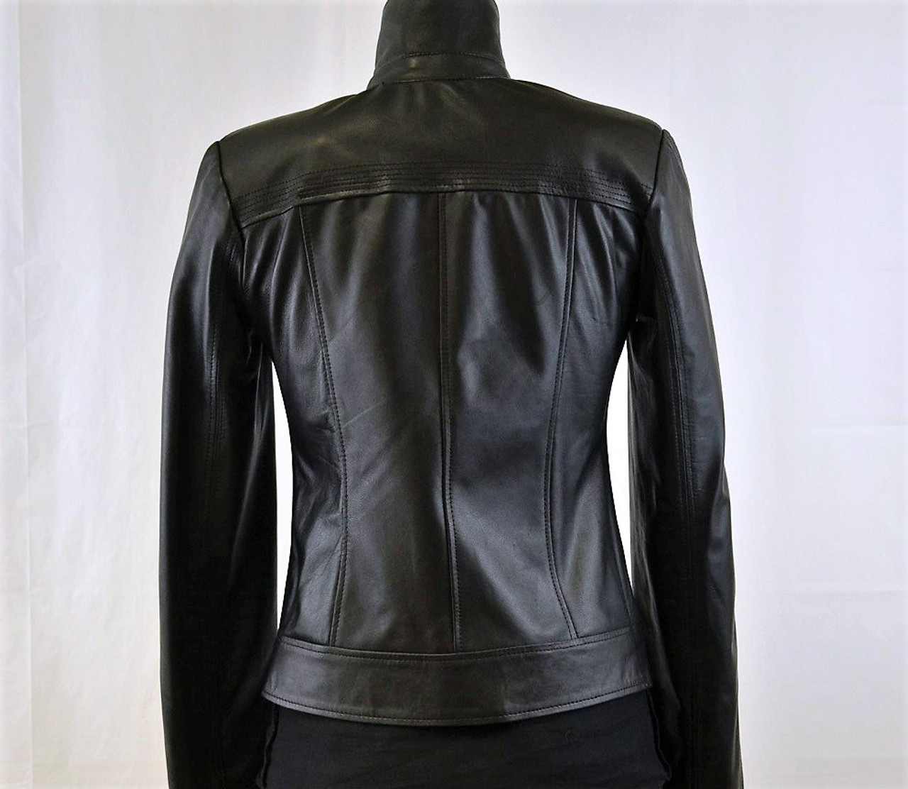 Light weight women's asymmetrical zip front leather jacket clean look