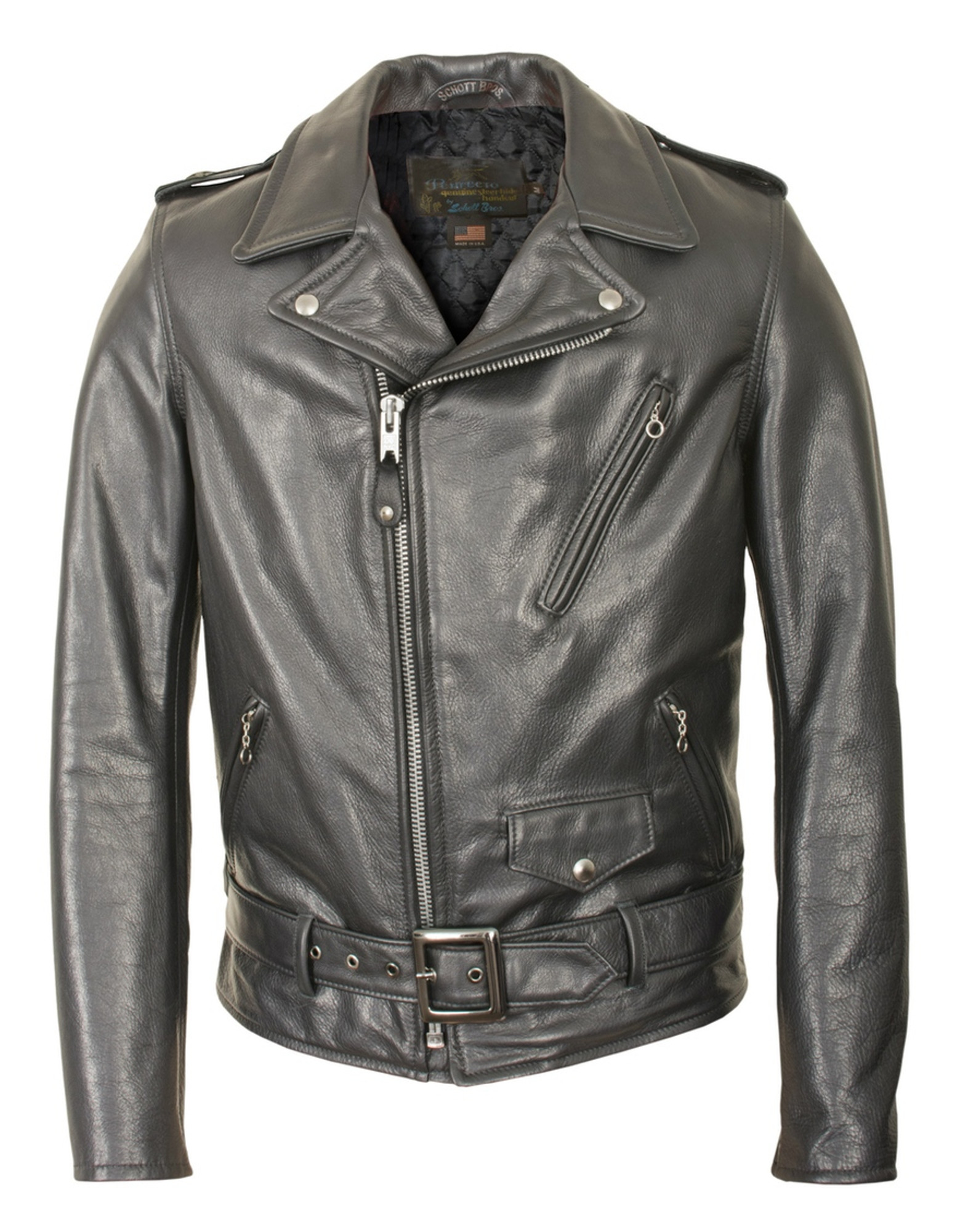 158021ca3 Waxy Natural Cowhide 50's Perfecto Motorcycle Leather Jacket