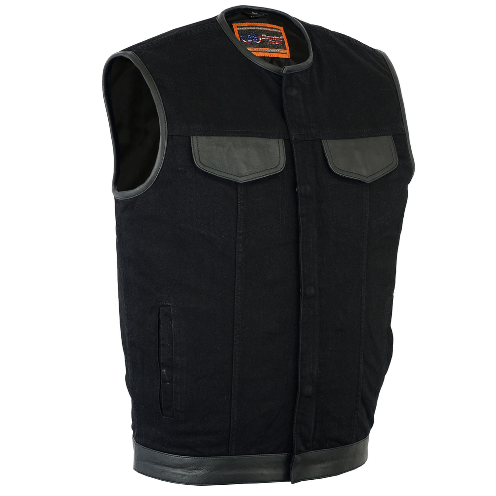 664bcd25e725 Men s Black Denim Single Vest Leather Trim Collar - SUNSET LEATHER