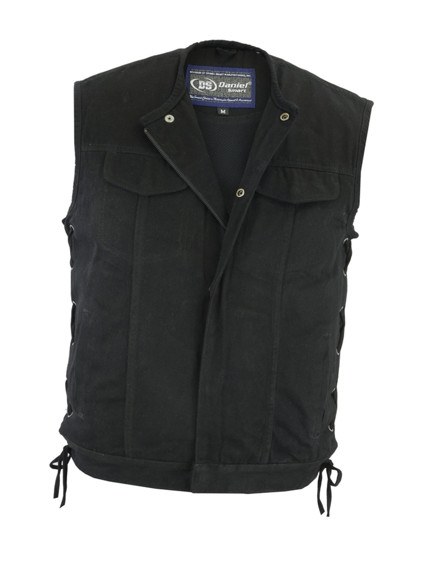 Men/'s Classic Concealed Snap Denim Club Style Vest W//Hidden Zipper