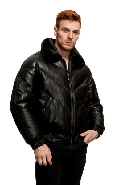 Original Goose Leather/Down Filled Bomber mink collar
