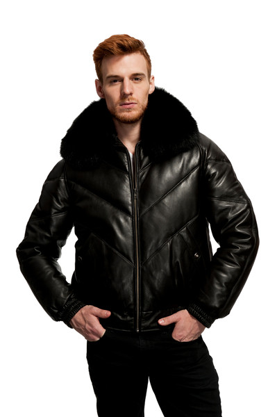 ORIGINAL GOOSE BARON LEATHER/DOWN FILLED BOMBER FOX COLLAR