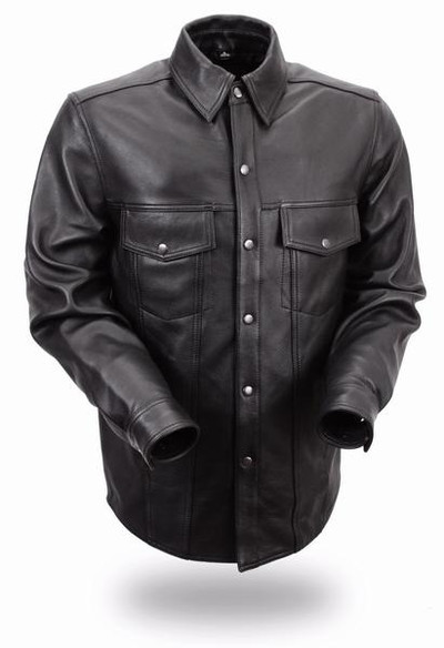 Men Milestone Lightweight Leather Shirt