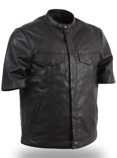 short sleeve leather