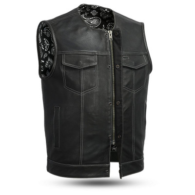 LEATHER COLARLESS  Vests are made to order. Please allow (5-7) weeks for shipping.