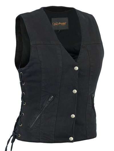 Women's  Denim Vest With Side Laces