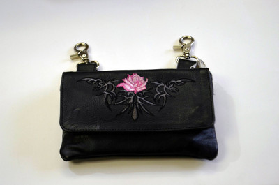 Leather Belt Bag Hip Purse Embroidered pink rose