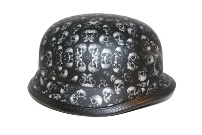 Grey Flat (not shine) Skull Graveyard German Novelty Helmet