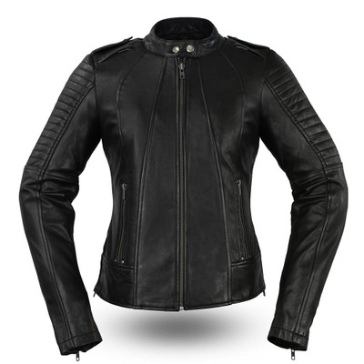 Women's Biker Leather Motorcycle Jacket