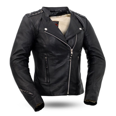 Black Widow  Ladies Motorcycle Leather Jacket