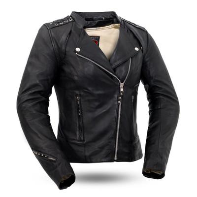 Black Widow  Ladies Motorcycle Leather Jacket