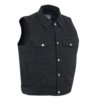 Classic Snap Front Denim Vest with Zip-Front