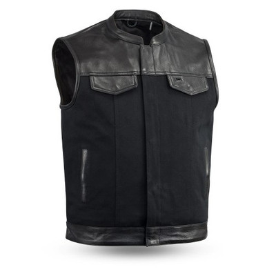 leather/Canvas Motorcycle vest with Collar