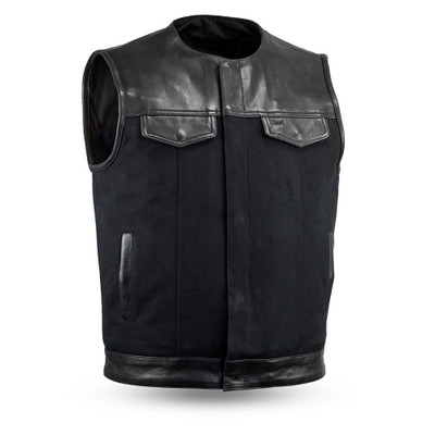 leather/Canvas Motorcycle vest with no Collar