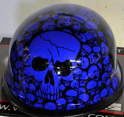 Blue Skull German Novelty Helmet