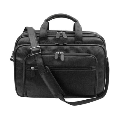 Leather briefcase. Front zip pocket and back velcro strap
