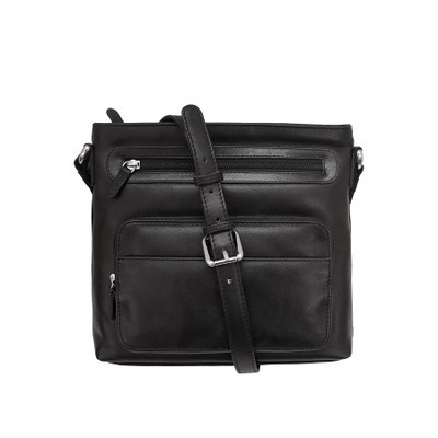 leather, top zip crossbody/shoulder bag with adjustable strap