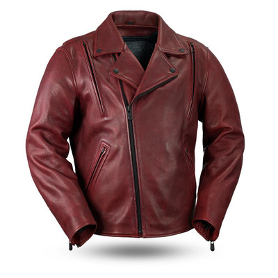 Night Rider Red Men's Motorcycle Leather Jacket