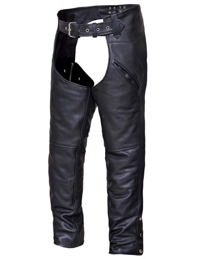 Unisex Naked Leather Deep Pocket Motorcycle Chaps