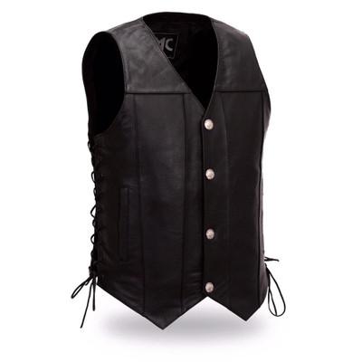 Gun Slinger Men buffalo button vest with side lace