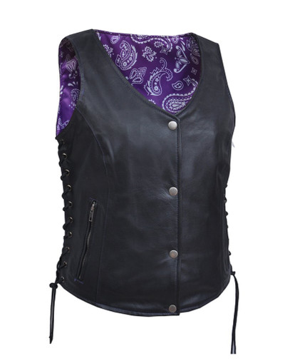 Lightweight Women leather vest with purple paisley lining