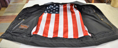 Men Motorcycle Vest with Flag Lining