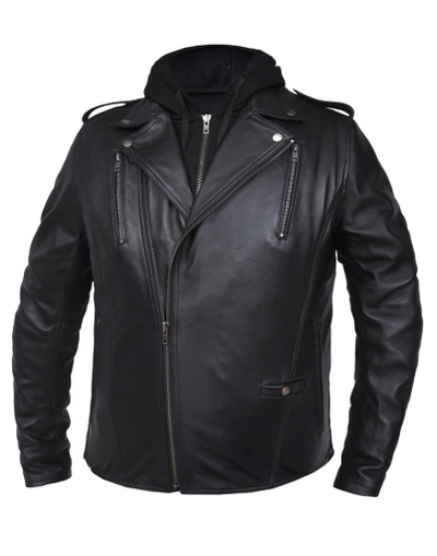 Premium Leather Jacket With hoodie