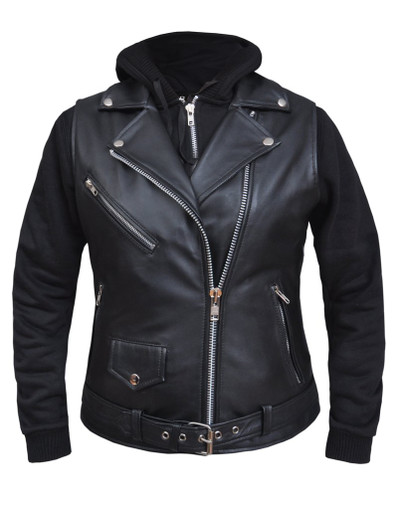 LADIES  LEATHER VEST WITH HOODIE