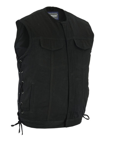 Men's collarless black denim motorcycle vest with snap and hidden zip-front