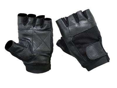 Leather / Mesh Fingerless Glove
