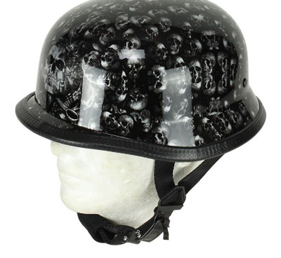 Grey Shiny(gloss) Skull Graveyard German Novelty Helmet