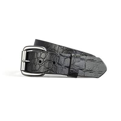 "Crocodile print belt black 1.5"""