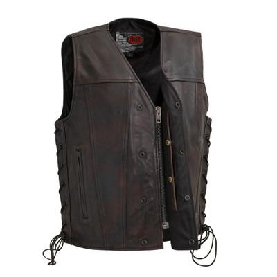 Men's High Roller Leather  Vest Copper Color